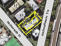Aerial photo of 11 McIlwraith Street Auchenflower